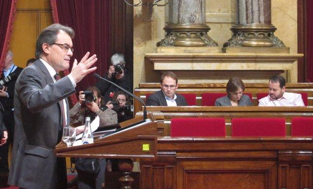 Artur Mas, en el Pleno del Parlament que aprobó la declaración de soberanía