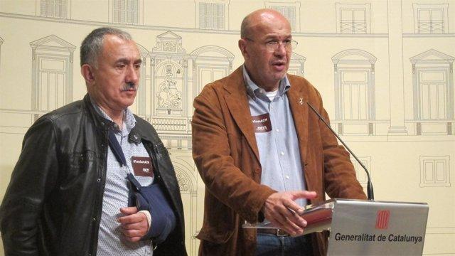 J.M.Àlvarez (UGT) y Joan Carles Gallego (CC.OO.)