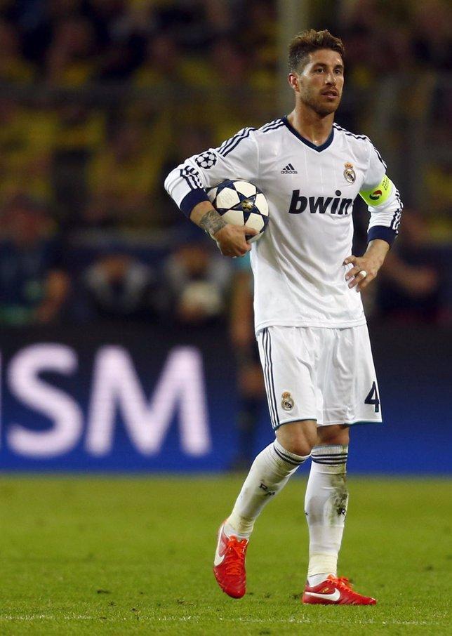 El defensa del Real Madrid Sergio Ramos en un partido de Liga de Campeones