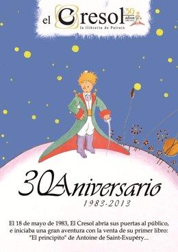 Cartel conmemorativo del 30 aniversario de la  librería El Cresol