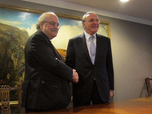 El conseller Andreu Mas-Colell e Isidre Fainé (La Caixa)
