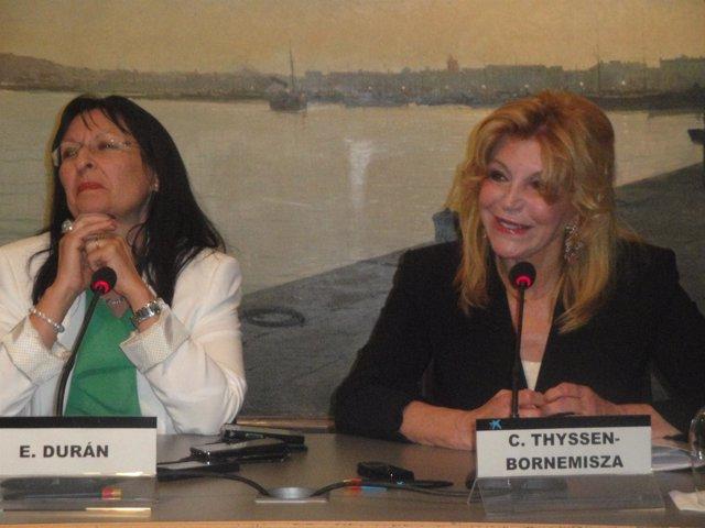 Elisa Durán (dtora.Adjunta Fundació La Caixa) y la baronesa Carmen Thyssen