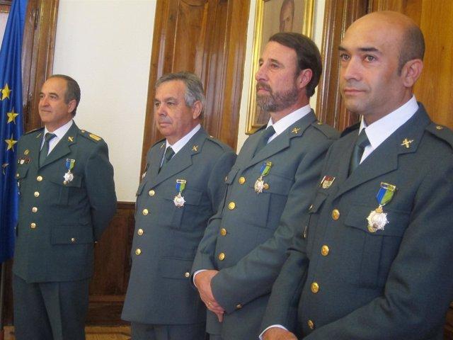Los cuatro guardias civiles del Seprona condecorados en la Subdelegación