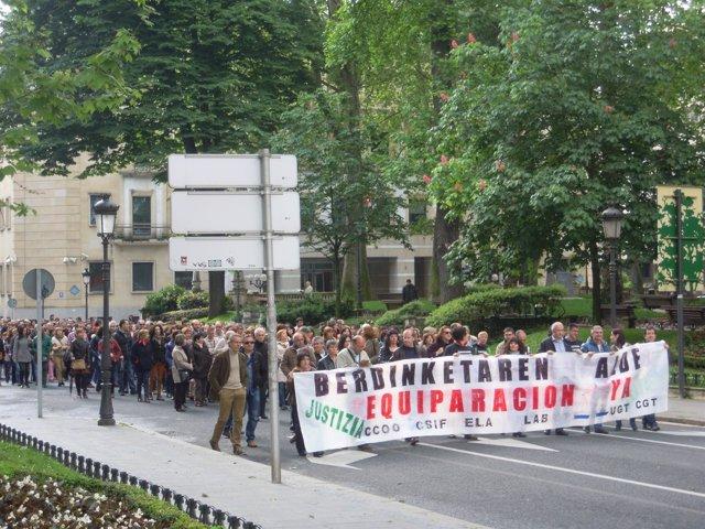 Manifestación de trabajadores de Justicia en Bilbao