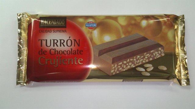 Turrón sin gluten chocolate crujiente Hacendado
