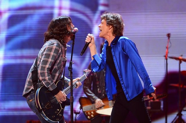 Dave Grohl y Mick Jagger