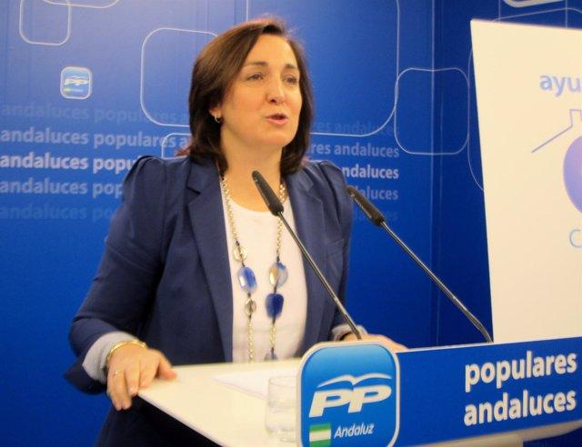La vicesecretaria de Organización del PP-A, Ana Corredera, hoy en rueda de prens