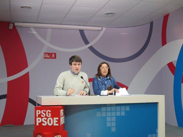 Carmen Gallego, viceportavoz del PSdeG en el Parlamento, ante la prensa