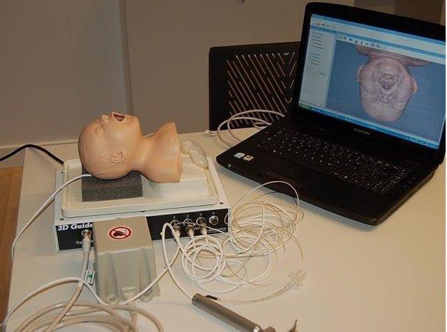 Imagen del simulador portátil 3D de intubación.
