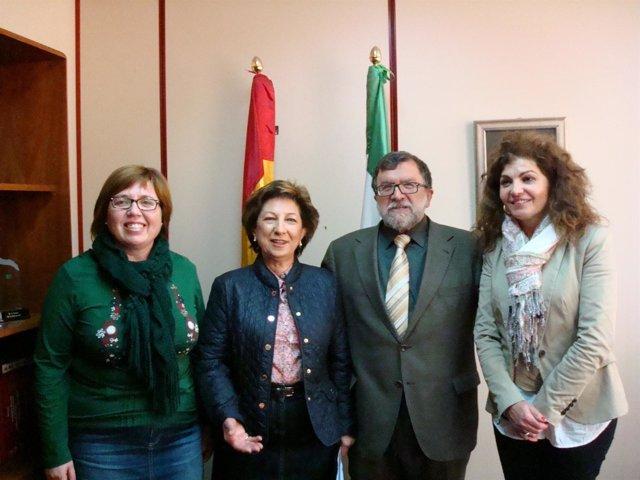 Ortega, Nestares, Cifuentes y Olmedilla en la reunión sobre la Catedral de Jaén.
