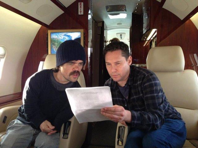 Bryan Singer y Peter Dinklange en el rodaje de X-Men