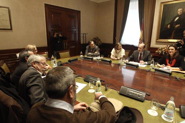 Alfredo Pérez Rubalcaba encuentro con sindicatos