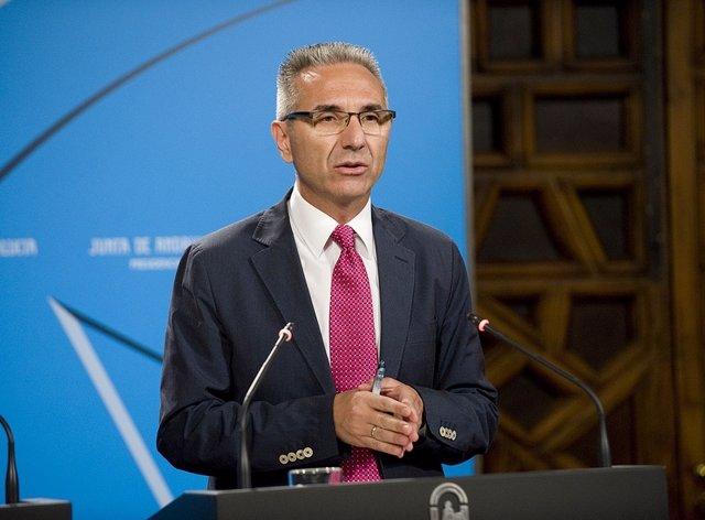 El portavoz del Gobierno de la Junta de Andalucía, Miguel Ángel Vázquez, hoy