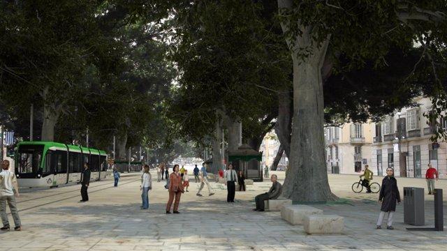 Recreación del metro en superficie en Málaga a su paso por la Alameda