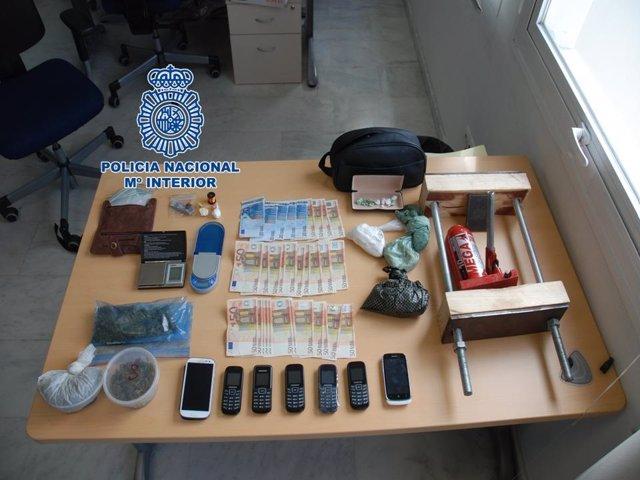 Droga incautada en una operación en Motril