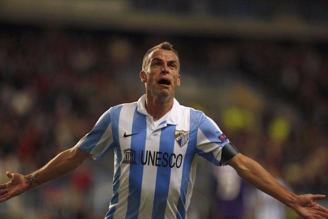 Duda celebra el primer gol del Málaga