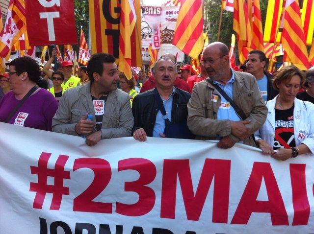 Manifestación en Barcelona por el desbloqueo de convenios colectivos.