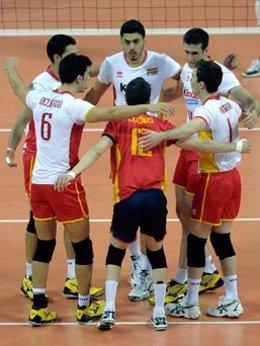 Jugadores de la selección de voleibol española