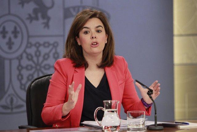 Soraya Sáenz de Santamaría en el Consejo de Ministros