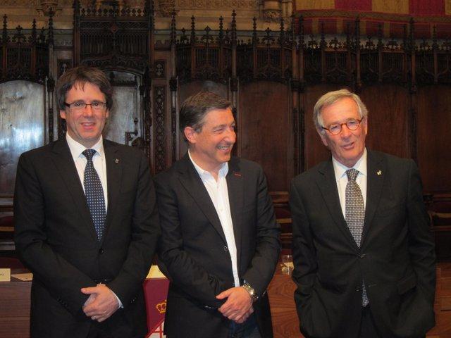 Carles Puigdemont, Joan Roca y Xavier Trias