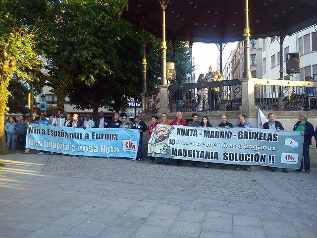 Manifestación en Marín en defensa de la flota cefalopodera