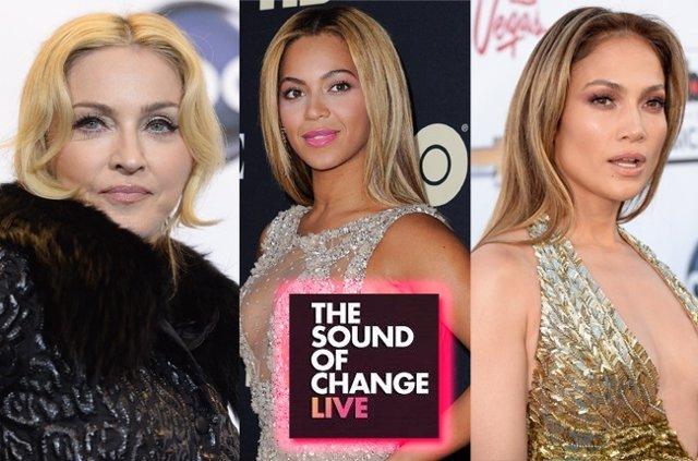 Madonna, Beyoncé, Jennifer López para el concierto benéfico para las mujeres