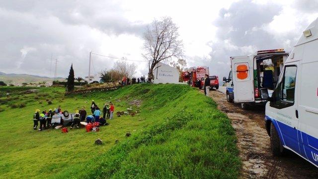 Accidente de tráfico Málaga vuelco vehículo sin carné