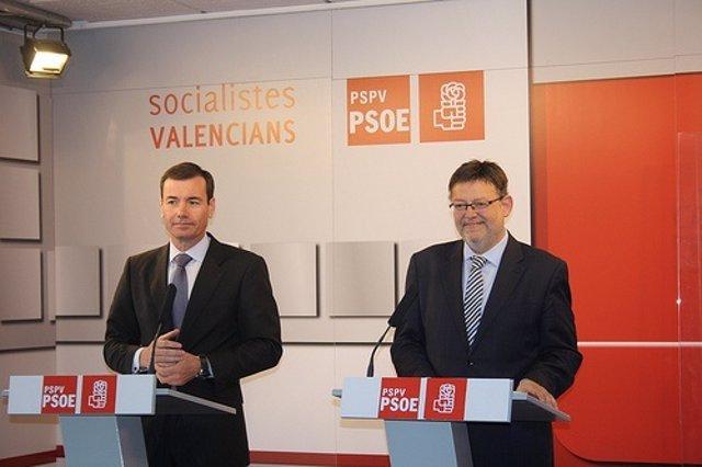 Tomás Gómez y Ximo Puig en una rueda de prensa