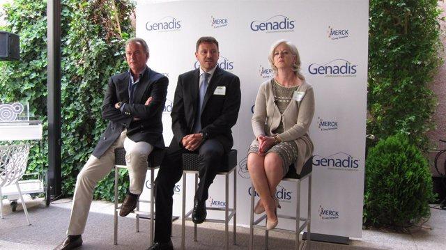 Bertín Osborne, Vila y Núñez, en la presentación de 'Genadis' (Merck)