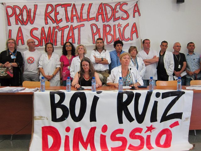 Rueda de prensa del comité de empresa del Hospital Sant Pau de Barcelona