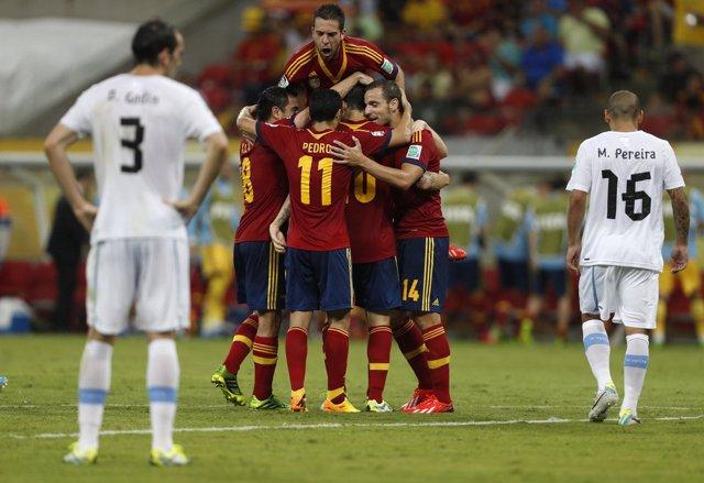 España vence a Uruguay en la Copa Confederaciones