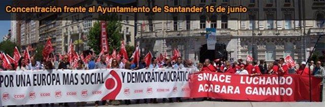 Concentración de los trabajadores de Sniace este sábado en Santander