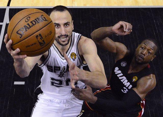 Manu Ginobili y Dwayne Wade en el San Antonio Spurs- Miami Heat
