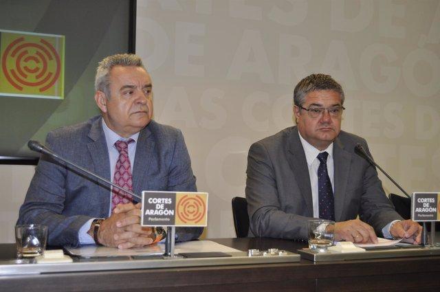 Alfredo Boné (PAR) y Antonio Torres (PP) en las Cortes de Aragón