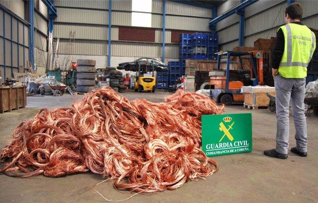 Cable de cobre recuperado de robos en Ferrol.