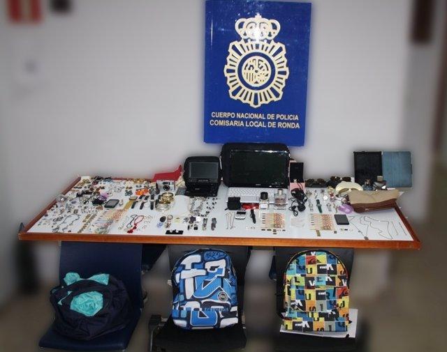 Objetos robados en una casa de Ronda