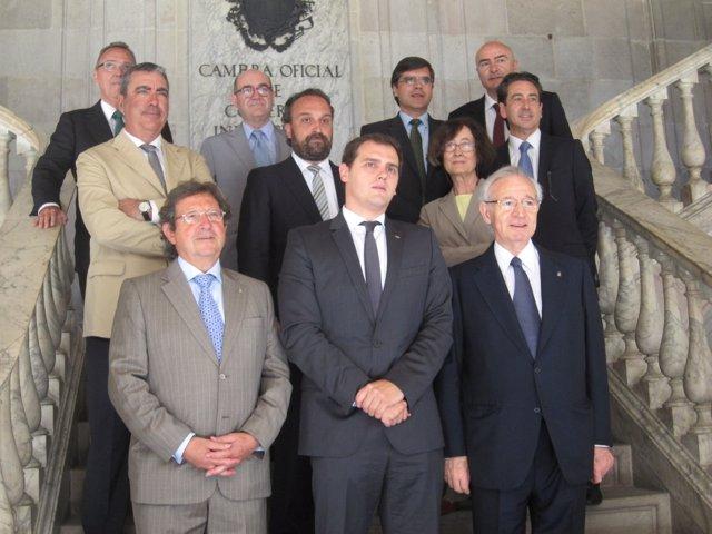 Albert Rivera (C's), Miquel Valls (Cámara de Barcelona), entre otros