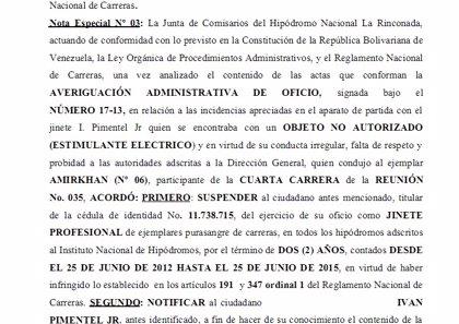 Hípica.- Iván Pimentel no podrá competir hasta 2015 por usar estimulante eléctrico para su caballo