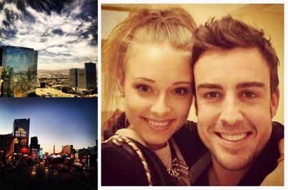 Fernando Alonso celebra en Las Vegas su primer año de noviazgo con Dasha Kapustina