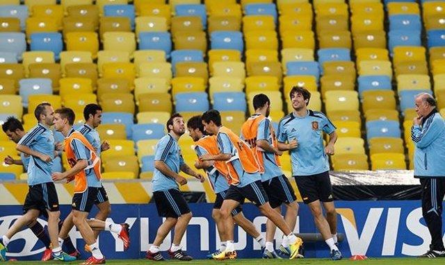 La selección española se entrena por última vez en Maracaná