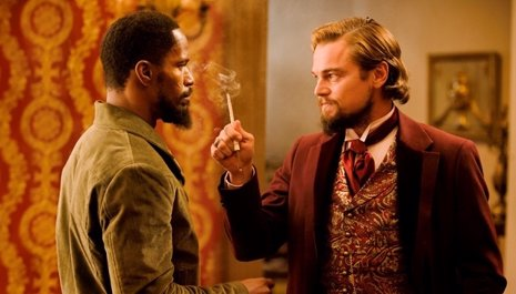 Jamie Foxx y Leonardo DiCaprio en Django Desencadenado
