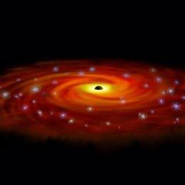 estrellas rodean agujero negro central de la via lactea