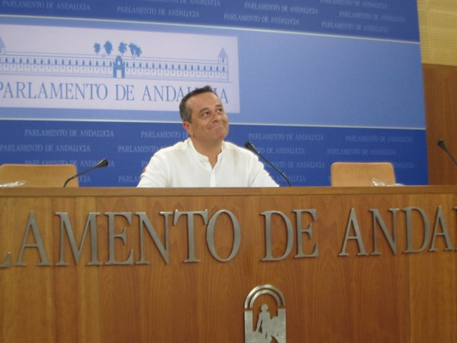 El portavoz parlamentario de IULV-CA, José Antonio Castro, en rueda de prensa