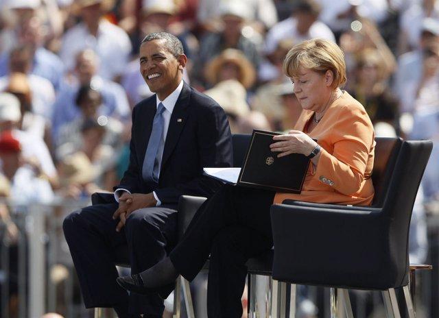 Obama y Angela Merkel en Berlín