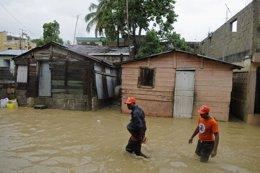 Inundaciones en Santo Domingo (Dominicana) por tormenta Chantal
