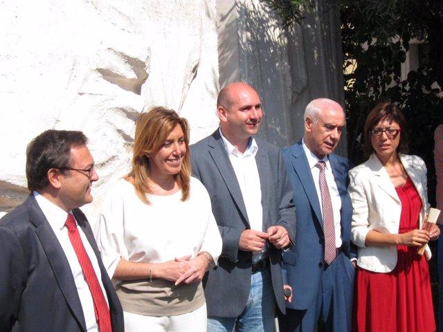 Susana Díaz junto a Heredia, Conejo, Alonso y Gámez PSOE