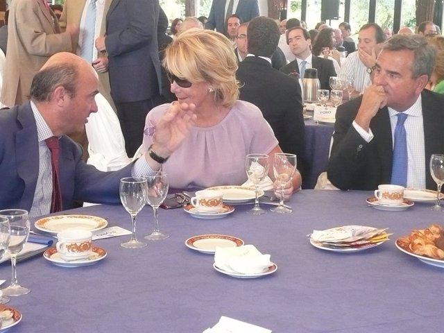 Guindos y Aguirre este lunes en el acto 'Foro populares de Madrid'
