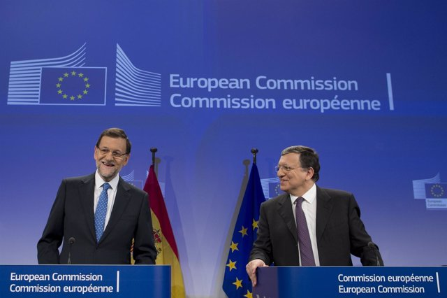 Rajoy y Barroso en la Comisión Europea
