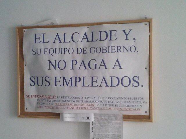 Nota de los trabajadores del Ayuntamiento de Montellano