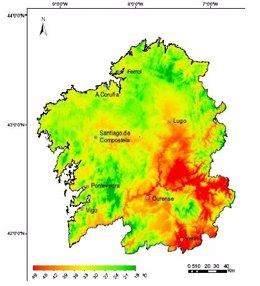 Mapa de temperaturas de Galicia de la USC
